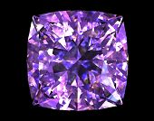 Square shape  amethyst on black background. Gemstone