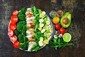 Plate With A Keto Diet Food. A Set Of Products For The Ketogenic Diet On A Plate. Cherry Tomatoes, B poster