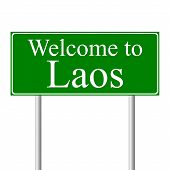 Welcome to Laos, concept road sign