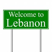 Welcome to Lebanon, concept road sign