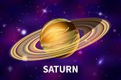 Realistic Saturn Planet On Colorful Deep Space Background With Bright Stars And Constellations poster