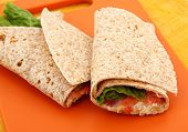 Chicken Salad Wrap On Cutting Board