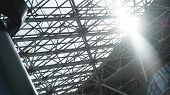 Steel Structure Workshop In Construction, Steel Frame Factory Building Closeup poster