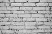 Wall Of Old Cracked White Brick. Grunge Wall. Wall Cement Background. Gray Concrete Texture. Vintage poster