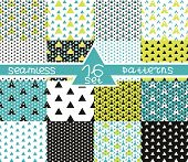 Set Of Sixteen Triangular Seamless Geometric Patterns. Seamless Abstract Triangle Geometrical Backgr poster