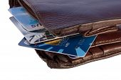 Wallet With Credit Cards Inside, Isolated On White Background Wi
