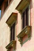 stock photo of mona lisa  - windows on the exterior of the vignamaggio in tuscany - JPG