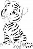 Vector Illustration Coloring Of An Funny Cheerful Tigre Sitting Sits Over White Background poster