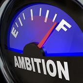 A fuel gauge with needle pointing to full to measure the ambition level and amount of enthusiasm and aspirations for success and meeting a goal