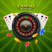 Casino Roulette With Chips, Red Dice Realistic Gambling Poster Banner. Casino Vegas Fortune Roulette poster