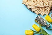 Flat Lay Composition With Matzo And Space For Text On Color Background. Passover (pesach) Seder poster