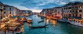 Panorama Of Venice At Night, Italy. Beautiful Cityscape Of Venice In Evening. Panoramic View Of Gran poster