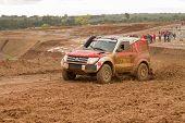 Portalegre, Portugal - November 3: Jose Lucas Drives A Mitsubishi Pajero In Baja 500, Integrated On