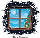 Window, Snowy Night, Christmas Background, Vector Illustration
