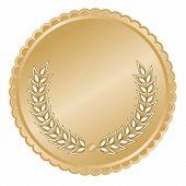Medalhão de ouro com folhas