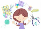 picture of thread-making  - Happy Craft Girl juggling many icons representing hobbies such as dressmaking - JPG