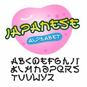 Japanese design alphabet, vector Eps10 image