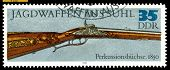Vintage  Postage Stamp. Percussion  Gun . 1850.