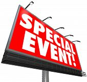 A huge red billboard with words Special Event to advertise a exclusive limited time sale, meeting, c