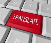 The word Translate on a red computer keyboard key or button to illustrate translation from one language into another through deciphering meaning, transcription or interpretation