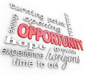 A background of 3d words related to opportunity such as turning point, opening, venture, chance, hop