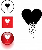 picture of fragile sign  - broken heart symbol sign and button - JPG