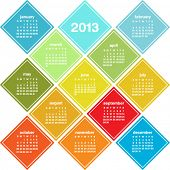 Calendar for 2013 in seasonal colors, weeks start on Sunday