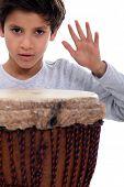 Little boy with bongo drum