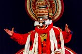 CHENNAI, INDIA - SEPTEMBER 9: Indian traditional dance drama Kathakali preformance on September 9, 2009 in Chennai, India. Performer portray monkey king Sugriva character in Ramayana drama