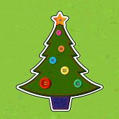 Felt effect Christmas tree on felt background. Hand stitching and buttons for decorations. EPS10 vector format.
