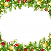 Christmas Vintage Border, Isolated On White Background