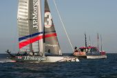 SAN FRANCISCO, CA - OCTOBER 4: The Ben Ainslie Racing Team crosses the finish line in the America'??