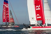 SAN FRANCISCO, CA - OCTOBER 4: Emirates Team New Zealand and Italy's Team Luna Rossa Piranha compete