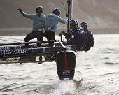 SAN FRANCISCO, CA - OCTOBER 4: Great Britain'??s J.P. Morgan Ben Ainslie Racing Team competes in the