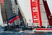 SAN FRANCISCO, CA - OCTOBER 4: Ben Ainslie Racing and Luna Rossa Piranha compete in the America'?s C