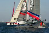 SAN FRANCISCO, CA - OCTOBER 4: Great Britain'??s Ben Ainslie Racing Team skippered by Ben Ainslie co