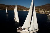SARONIC GULF, GREECE - SEPTEMBER 28: Competitors boats during of sailing regatta