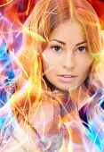 bright picture of lovely woman with fire effect