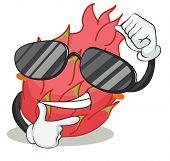 illustration of a red pitaya wearing glasses on white background