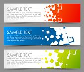 Simple colorful horizontal banners - with square motive