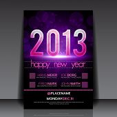 Happy New Year 2013 lila Vektor bearbeitbare Flyer Vorlage