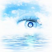 Conceptual illustration of eye overlooking water scenic