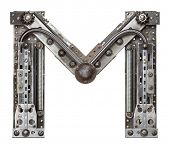 Industrial metal alphabet letter M