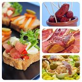 a collage of four pictures of different spanish tapas, as canapes, fried chorizos, pa amb tomaquet a