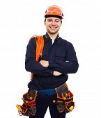 Portrait of an handsome worker. Isolated on white