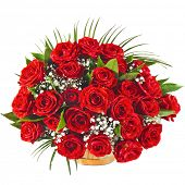 pic of rosa  - Red roses bouquet isolated on the white background - JPG