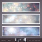 Winter Lights - set of three seasonal bokeh banners with snowflakes (separately grouped)