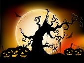 Halloween moon light night background with dead tree branches and pumpkins. EPS 10.