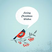 Christmas background with bird, ashberry and speech bubbles