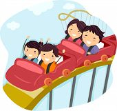 Illustration of a Family Riding a Roller Coaster Together
